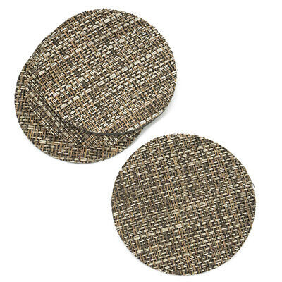 Mixed Brown Rattan Effect Coaster Set Of 4 Vinyl Mats Outdoor Indoor Weave Woven • 2.99£