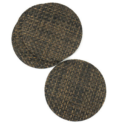 Two Toned Brown Rattan Effect Coaster Set Of 4 Vinyl Mats Outdoor Indoor Weave W • 2.99£