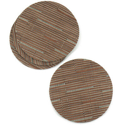 Orange Brown Rattan Effect Coaster Set Of 4 Vinyl Mats Outdoor Indoor Weave Wove • 2.99£