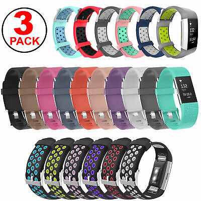 $ CDN11.77 • Buy 3-Pack Sports Silicone Strap Band Bracelet For Fitbit Charge 2, Charge 2 HR