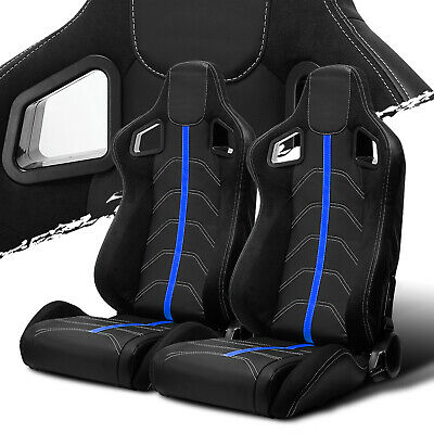 $289.50 • Buy Black PVC Leather/Blue Strip/White Stitch Left/Right Recaro Style Racing Seats