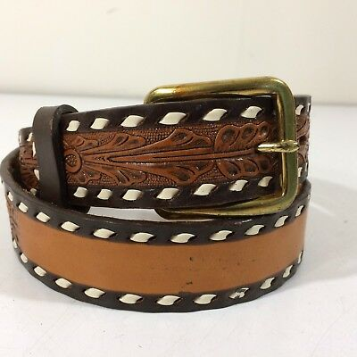 $55.61 • Buy NOS Vtg Circle Y Youth Kids Brown TOOLED Leather Cowboy Western LACED Belt 26-28