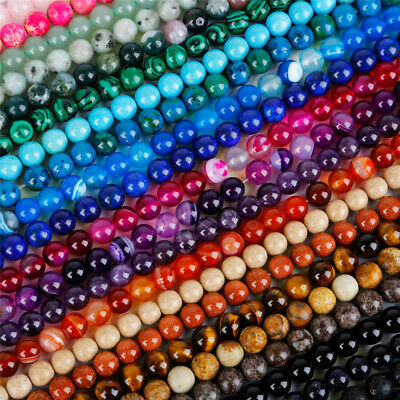 $ CDN1.99 • Buy Lots Natural Gemstone Round Spacer Loose Beads - Choose 4MM 6MM 8MM 10MM 12MM
