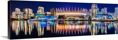 BC Place Stadium And Vancouver Skyline Canvas Wall Art Print, Skyline Home Decor • 42.47£