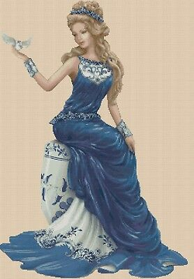 Cross Stitch Chart   Elegant Lady 156y Full Length     Flowerpower37-uk • 3.75£