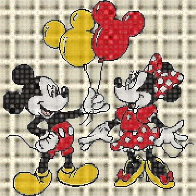 £4.50 • Buy Cross Stitch Chart - Mickey Mouse And Minnie Balloons Flowerpower37-uk