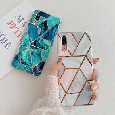 Geometric Marble Case For Huawei Mate 20 Lite P30 P20 Pro Soft Pastel Cover • 3.79£