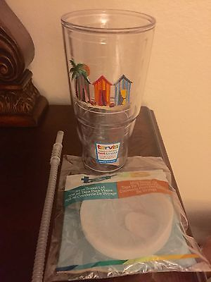 $29.99 • Buy Tervis Beach  Houses/palm Tumbler 24 Ounce With Lid & Straw New