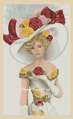 Cross Stitch Chart Elegant Lady 156f    Flowerpower37-uk.- • 3.75£