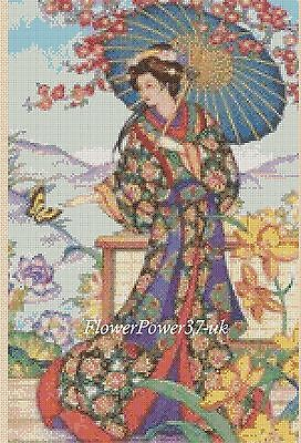 Geisha Cross Stitch Chart  Oriental Lady 195 FlowerPower37-uk FREE UK P&P • 3.50£
