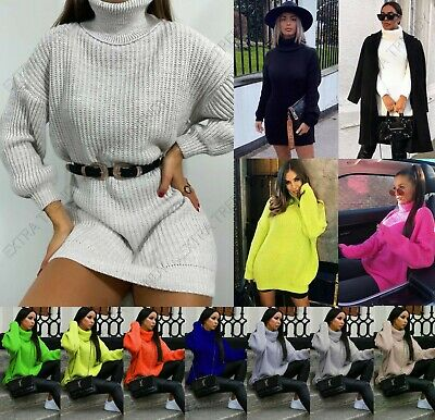 Women's High Roll Neck Oversized Jumper Dress Ladies Winter Knitted Pullover Top • 13.90£
