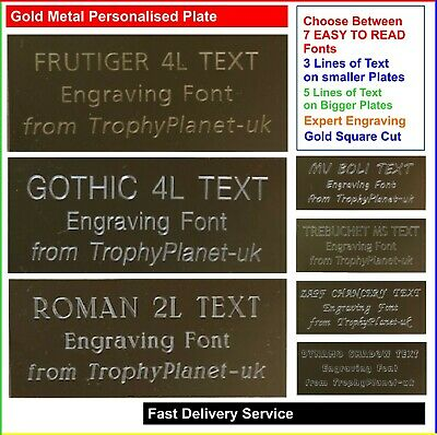 Gold PERSONALISED ENGRAVING PLATE, Metal Engraved Plaque For Trophies And Events • 3.99£