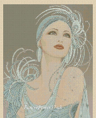 Cross Stitch Chart  Art Deco Lady  137 FlowerPower37-uk  • 3.50£