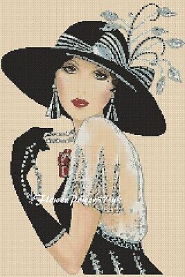 Cross Stitch Chart  Art Deco Lady 35e - Black   FlowerPower37-Uk • 3.50£