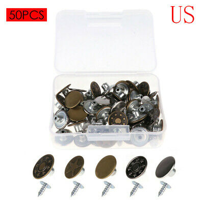 $6.03 • Buy 50 Clothes Instant Suspender Jeans Bag Button&Nails Replacement Craft 17mm+Box
