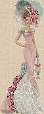 Cross Stitch Chart   Elegant Lady 156n Full Length     Flowerpower37-uk • 3.75£