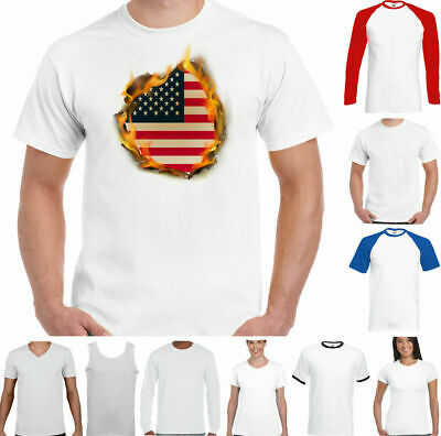 £8.99 • Buy USA T-Shirt Mens 4th Of July National Flag Flames American Stars & Stripes Top