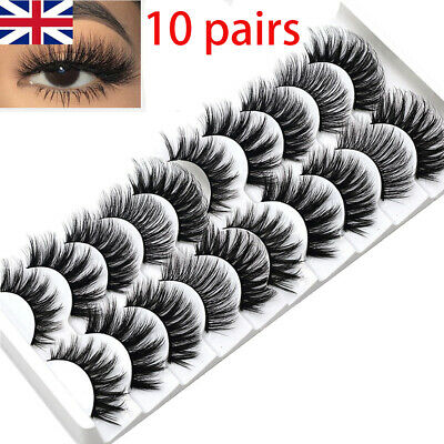 UK 10 Pair 3D Mink False Eyelashes Wispy Cross Long Thick Soft Fake Eye Lashes • 2.99£