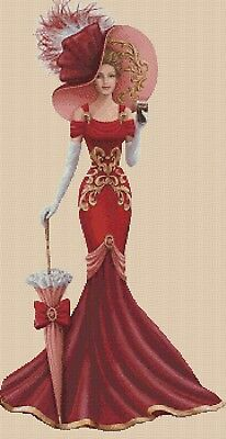 Cross Stitch Chart  Elegant Lady EL156YY  Full Length Flowerpower37-uk • 3.75£