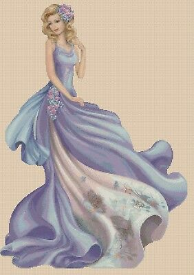 Cross Stitch Chart  Elegant Lady EL156XX  Full Length Flowerpower37-uk • 3.75£