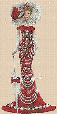Cross Stitch Chart   Elegant Lady 156e Full Length     Flowerpower37-uk • 3.75£