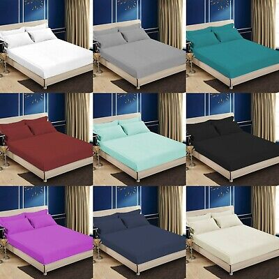Full Fitted Sheet Bed Sheets 100% Egyptian Cotton Single Double Super King Size • 8.99£