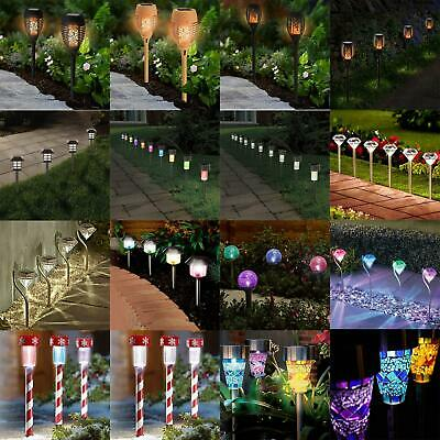£14.95 • Buy Solar Powered Outdoor Garden Post Ground Stick Stake Patio Pathway Led Lights