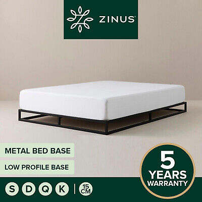 AU145 • Buy Zinus Joesph SINGLE DOUBLE QUEEN KING Metal Low Bed Base Mattress Frame Timber