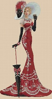 Cross Stitch Chart  Elegant Lady 156b Full Length     Flowerpower37-uk • 3.75£