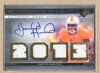 $12.50 • Buy Justin Hunter 16 2013 Upper Deck SPx Premier Rookie Quad Jersey Auto 089/125