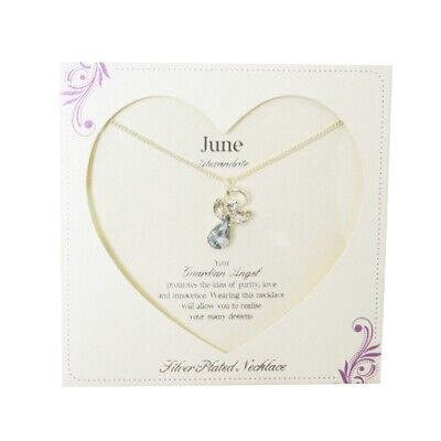 Guardian Angel June Birthstone Necklace With Gem Stone Sentimental Gift Idea • 7.99£