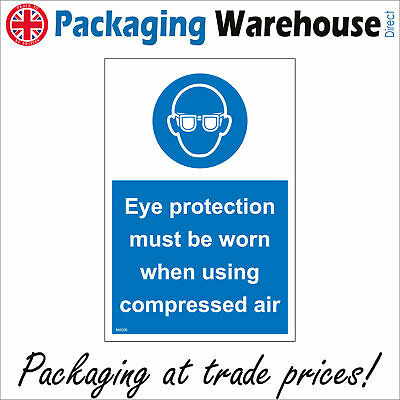 Ma500 Eye Protection Must Be Worn When Using Compressed Air Goggles Sign • 2.95£