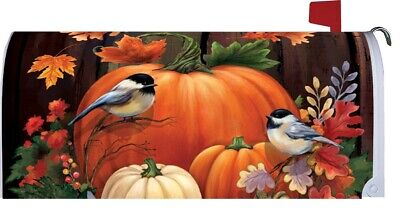 $18 • Buy Fall Autumn Thanksgiving Pumpkin Chickadee Magnetic Mailbox Cover