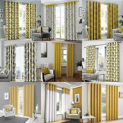 Mustard Eyelet Curtain Pairs Yellow Ochre Ring Top Lined Ready Made Curtains • 25.60£