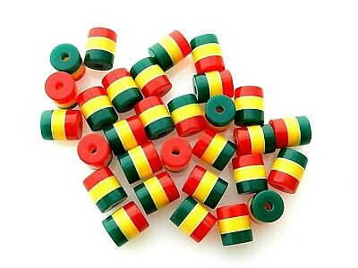 $6.99 • Buy 100 Rasta Jamaica Red Green Yellow Striped 9x8mm Round Cylinder Tube Resin Beads