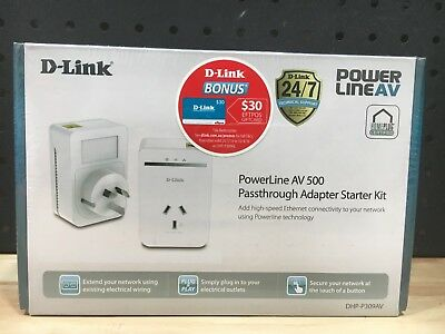 AU84.95 • Buy D-link Powerline Av500 Passthrough Network Starter Kit (dhp-p309av) - New