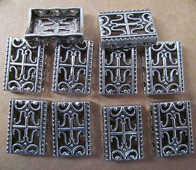 40PC 12*17mm Retro Tibetan Silver 3 Holes Carved Spacer Beads Charms PJ005 • 6£