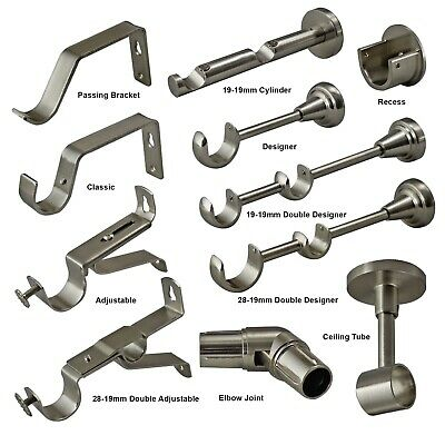 Stainless Steel Curtain Pole Brackets 19mm 28mm 35mm Recess Extendable Double • 6.49£