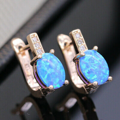 Yellow Gold Filled Blue Fire Oval Opal & Simulated Diamond Leaverback Earrings • 14.99£