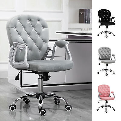 AU170.20 • Buy Diamante Tufted Velour Office Chair Padded Ergonomic 360° Swivel Base 5 Castor