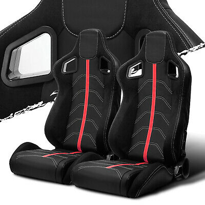 $292.50 • Buy Black PVC Leather/Red Strip/Red Stitch Left/Right Recaro Style Racing Seats