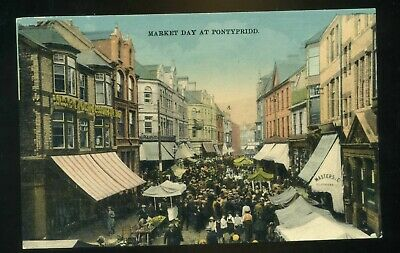 £8 • Buy PONTYPRIDD  Market Day In Main Street With Shops / Stalls And People   Coloured