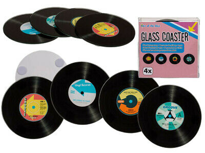 Retro Vinyl Records Dj Set Of 4 Glass Drinks Table Coasters Mats • 6.95£