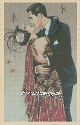 Cross Stitch Chart  Art Deco Lady Couple  - No 176 FlowerPower37-uk FREE UK P&P • 3.50£
