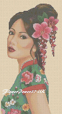 Cross Stitch Chart  Oriental Lady Geisha  In Green - No.196 FlowerPower37-UK-. • 3.50£