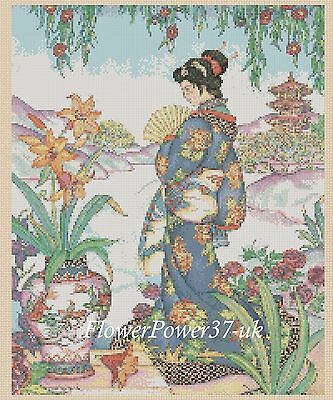 Geisha Cross Stitch Chart  Oriental Lady 218 FlowerPower37-uk FREE UK P&P • 3.50£