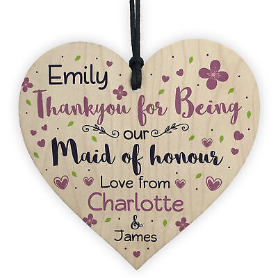 £3.49 • Buy Personalised Thank You Gifts For Maid Of Honour Wooden Heart Plaque Wedding Gift