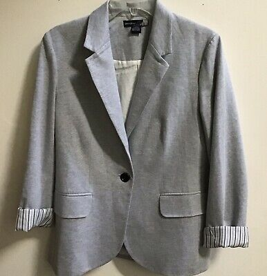 $28.99 • Buy Sans Souci Women Light Gray Jersey Knit Blazer Jacket Sz L Pockets Work, Career