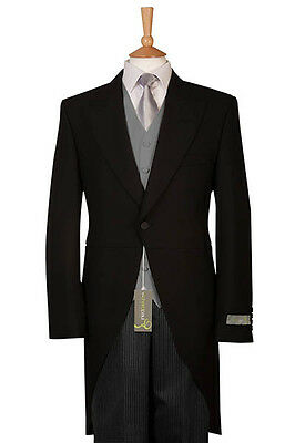 £129.99 • Buy Tailcoat Tails Ex Hire Black 3 Piece Wedding Suit Waistcoat And Stripe Trousers