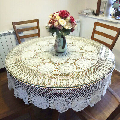 AU94.49 • Buy Vintage Crochet Round Tablecloth Floral Lace Dining Table Cover Wedding Banquet